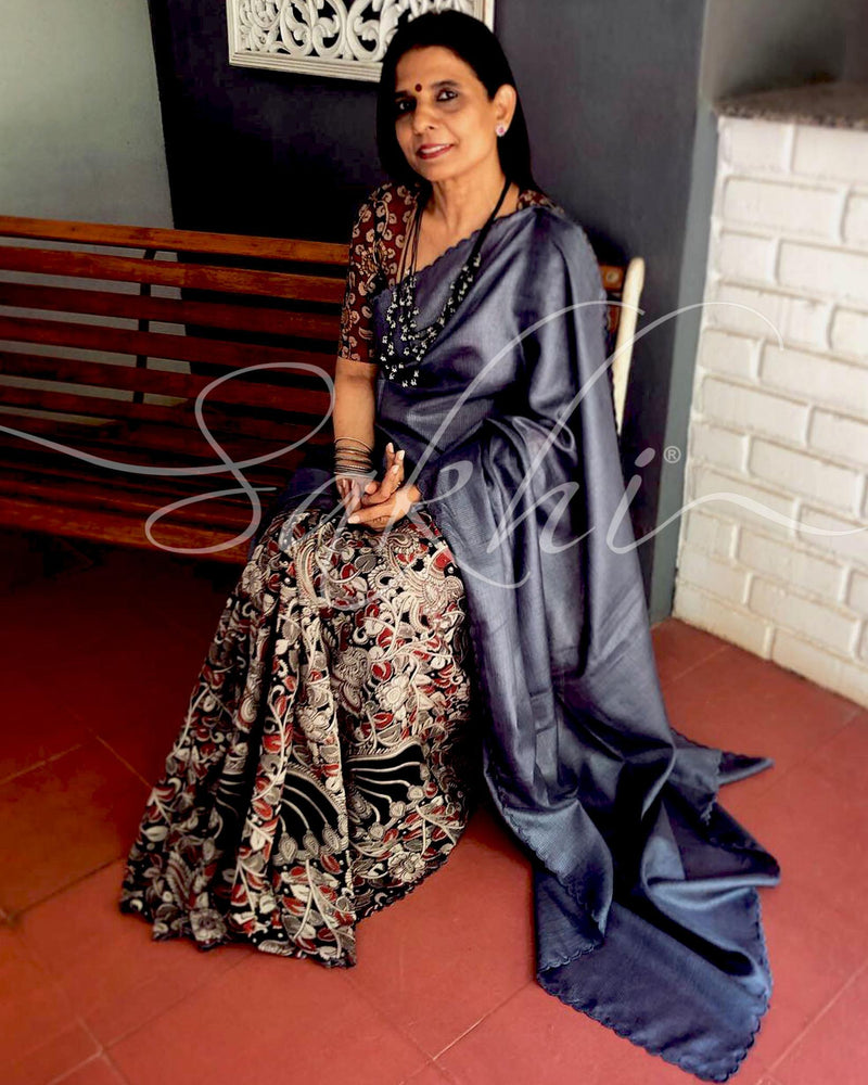 EE-R28026 - Grey & Multi Dori Tussar  Saree