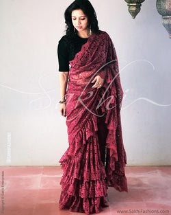 EE-R28062 - Maroon pure French Lace Saree