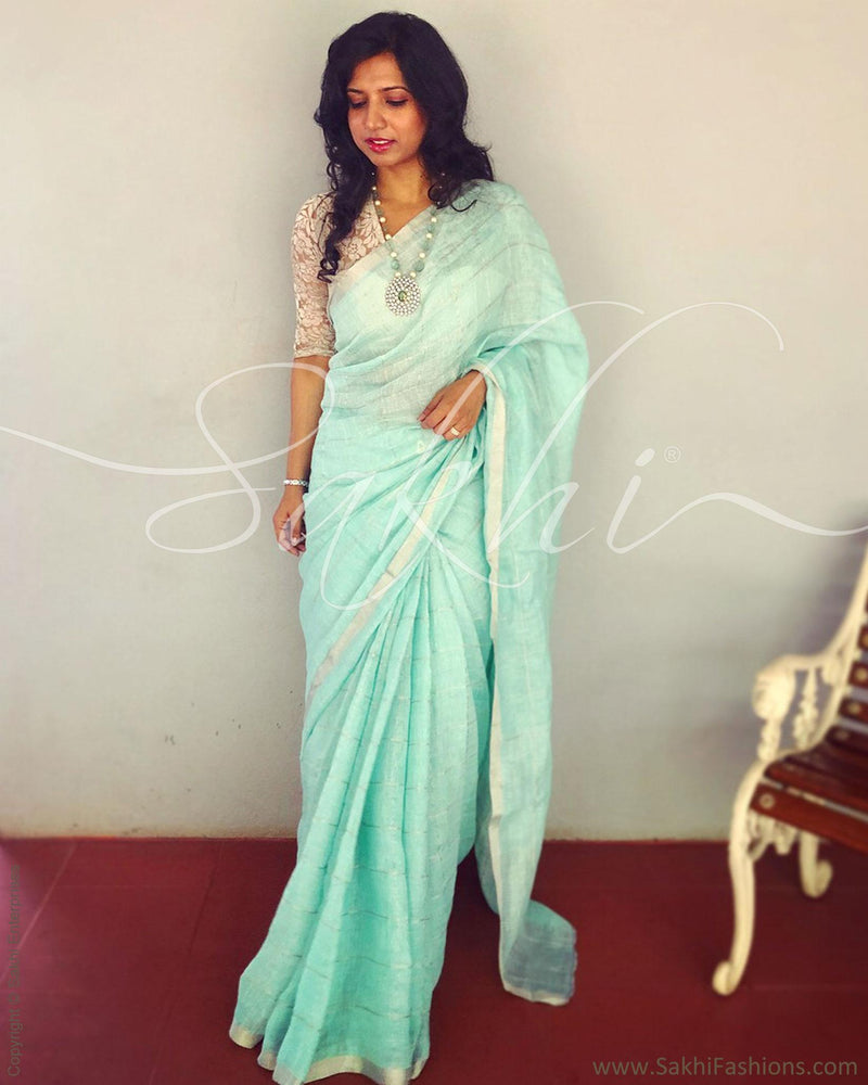 EE-R3137 - Green & Silver Pure Linen Saree