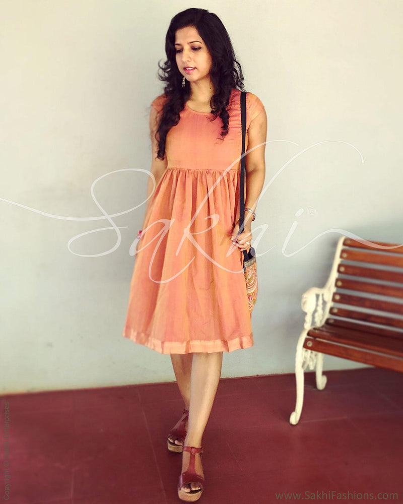 EE-R3145 - Peach & Gold Pure Cotton Frock