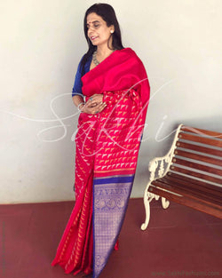 EE-R3441 - Red & blue pure Kanchivaram silk saree