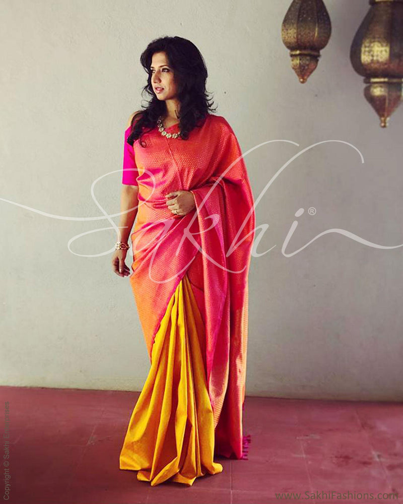 EE-R3446 - Pink & Yellow Kanchivaram Saree