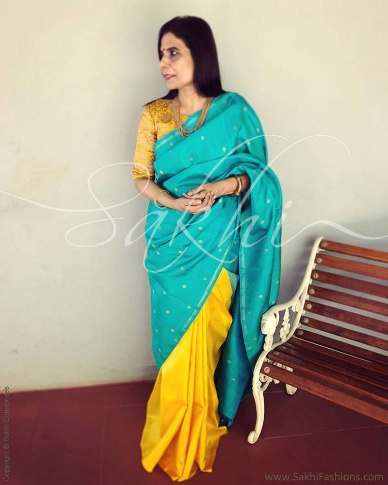 EE-R3526 - Blue & Yellow Kanchivaram Saree
