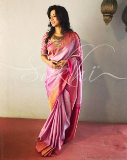 EE-R3660 - Peach & Pink Kanchivaram  Saree