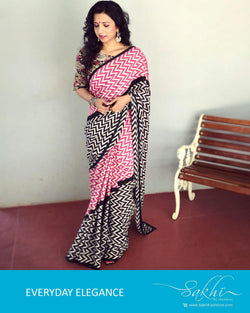 EE-R4176 - Pink & Black Pure Silk Saree