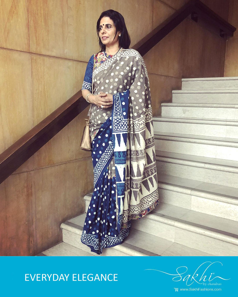 EE-R4271 - Blue & grey pure Cotton saree