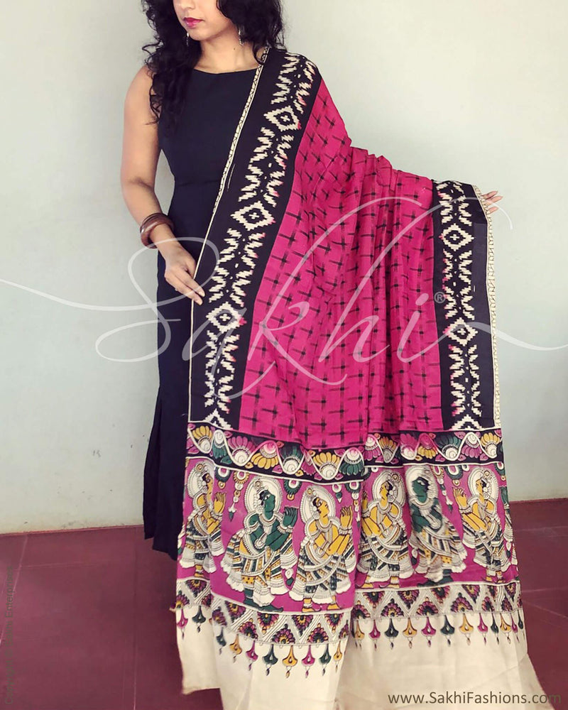 EE-R4422 - Pink & Multi Silk & Cotton Dupatta