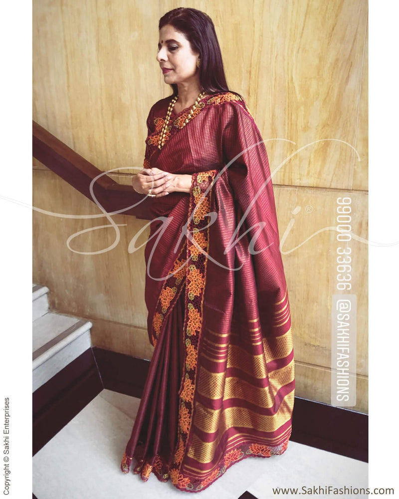EE-R4459 - Maroon & gold pure Kanchivaram silk saree