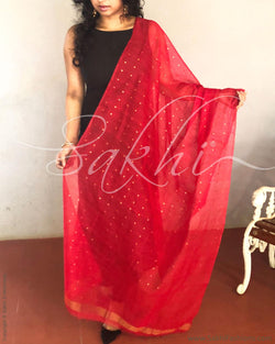 EE-R4472 - Red & Gold Matka Silk Sequence Work Dupatta