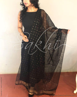 EE-R4783 - Black & Gold Matka Silk Sequence Work Dupatta
