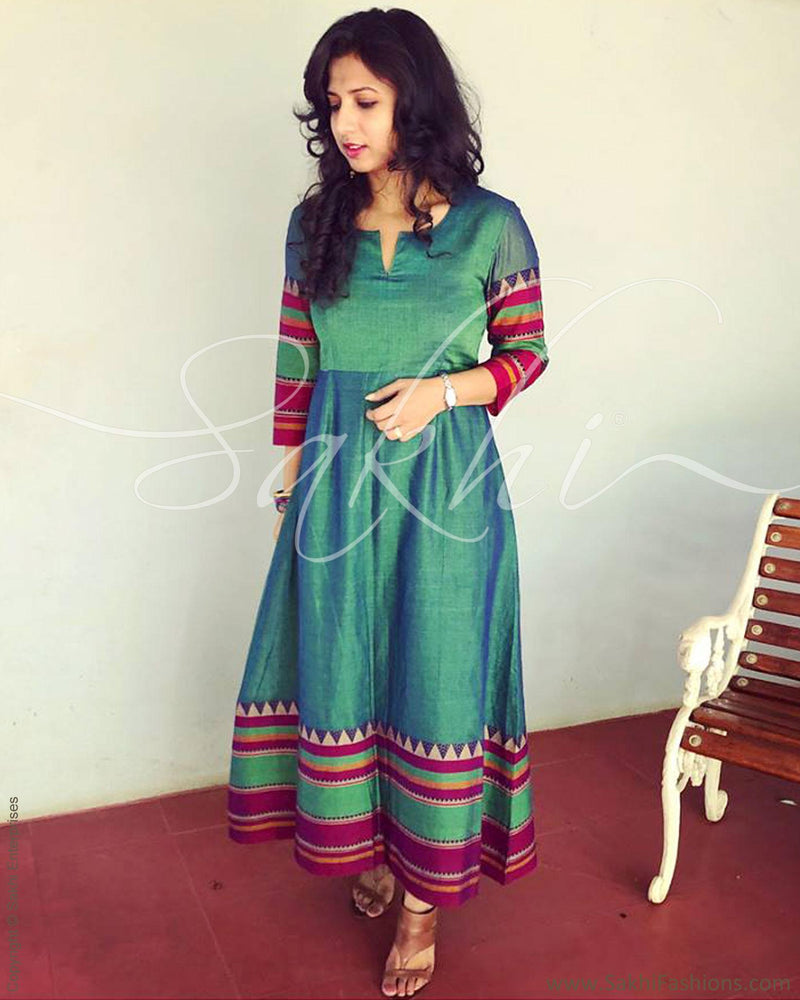 EE-R5324 - Green & Multi Pure Cotton Dress