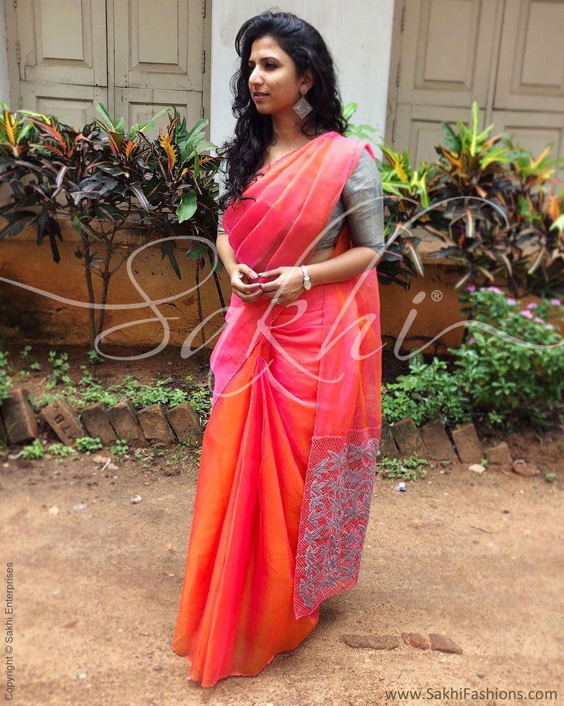 EE-R6349 - Peach & Orange Organza Silk Saree