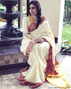 EE-R6039 - Cream  & Multi Kanchivaram Saree