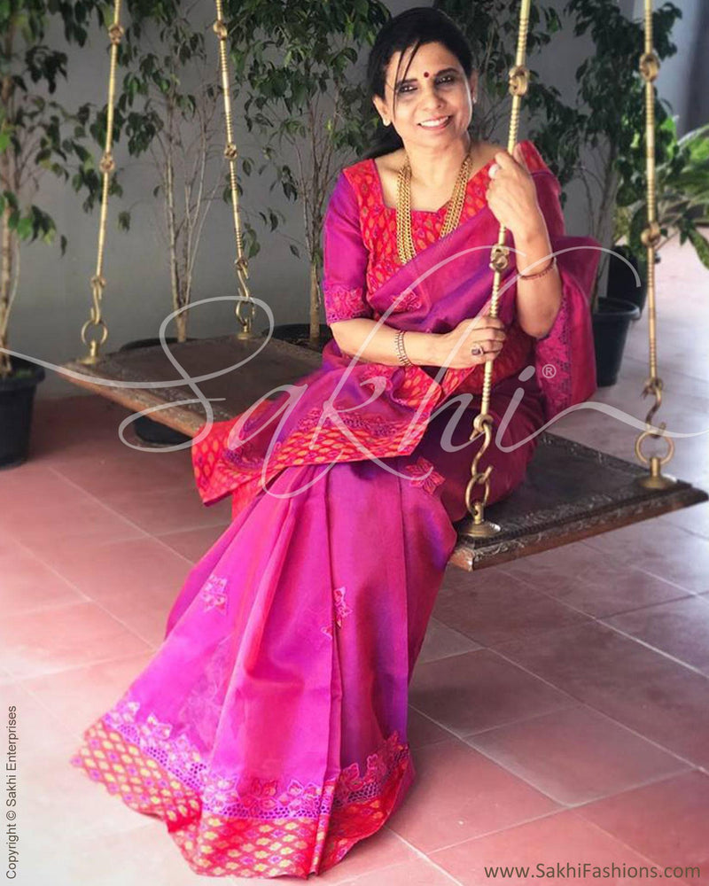 EE-R6837 - Violet & red Organza silk saree