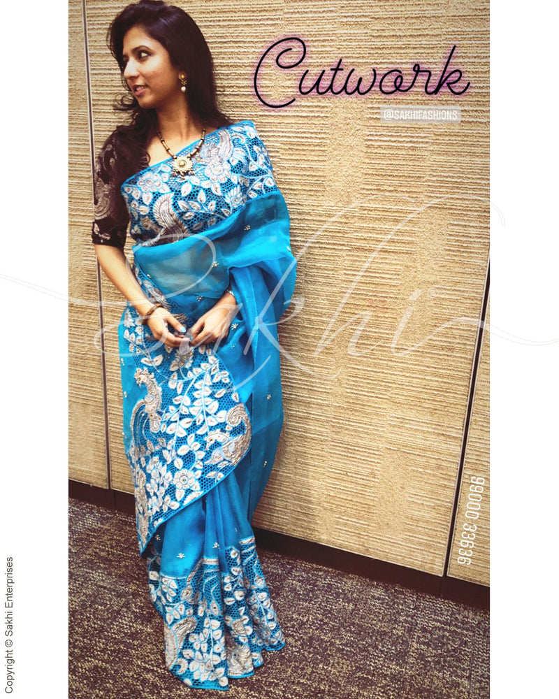 EE-R8610 - Blue  & white Oragnza silk saree
