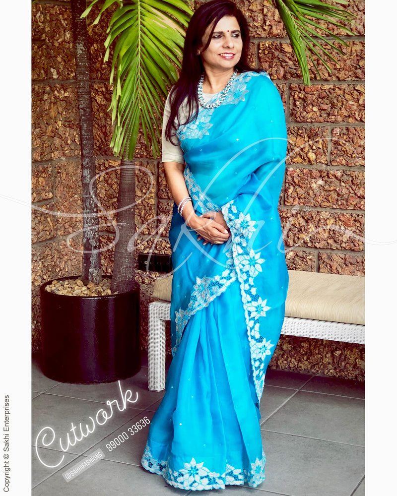 EE-R9433 - Blue & white Organza silk saree