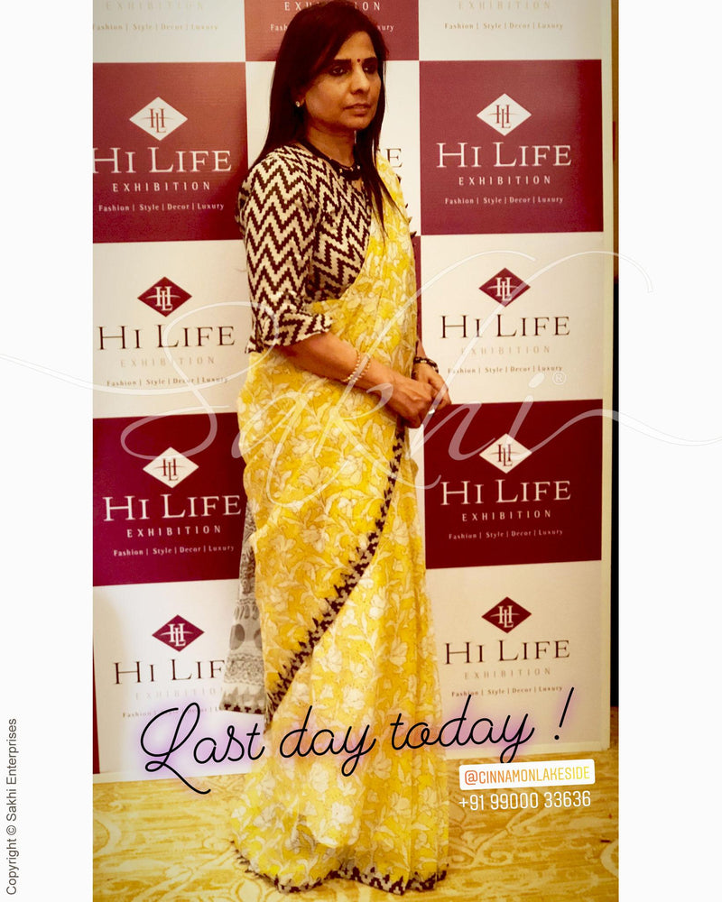 EE-R9754 - Yellow & Brown Cotton  Saree