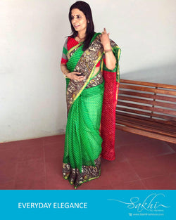 EE-R997 - Green & Red Pure Silk Kota Saree