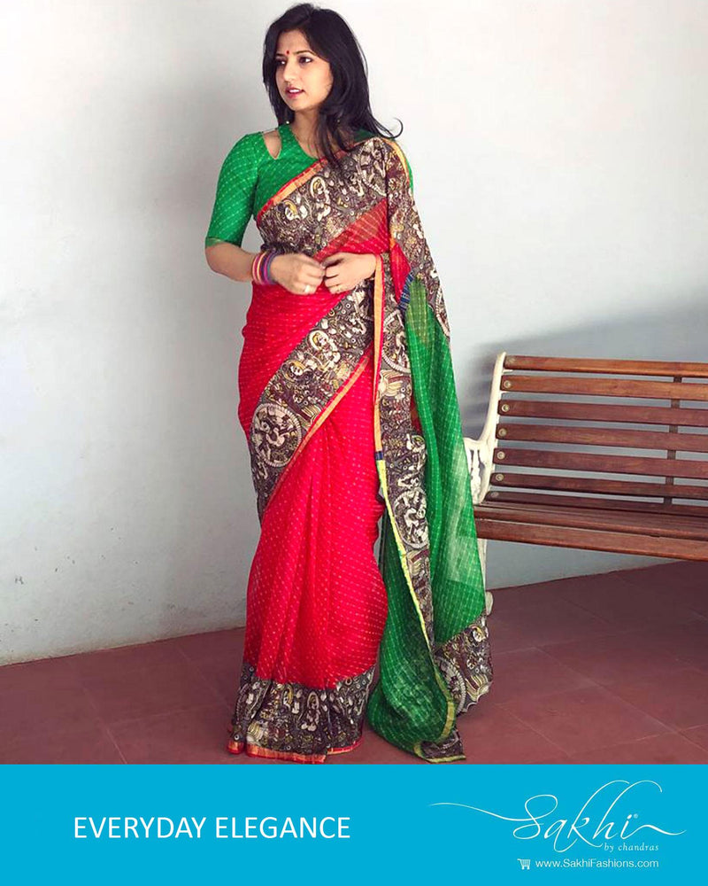 EE-R998 - Red & green pure Silk Kota saree