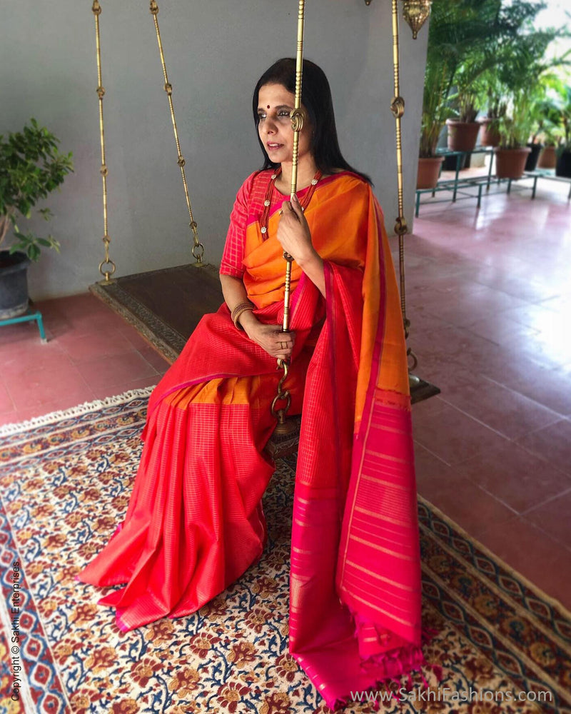 EE-S10014 - Mustard & Orange  Pure Kanchivaram Silk Saree