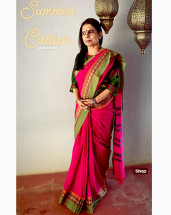 EE-S10537 - Pink &  Cotton Saree