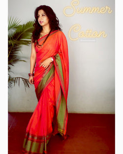 EE-S10542 - Orange Cotton saree