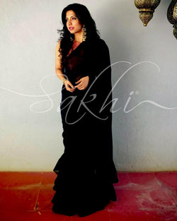 EE-S10605 - Black pink Faux Georgette saree