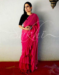 EE-S10606 - Guava Pink & Bottle Green Faux Georgette Saree