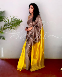 EE-S10659 - Yellow  & Gold Pure Silk Saree