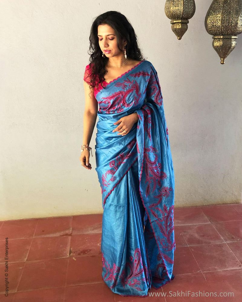 EE-S10838 - Blue & pink pure Tussar silk saree