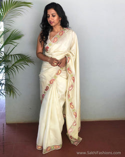 EE-S11089 - Cream pure Silk saree