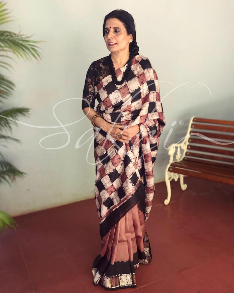 EE-S11447 - Brown & multi pure Silk saree
