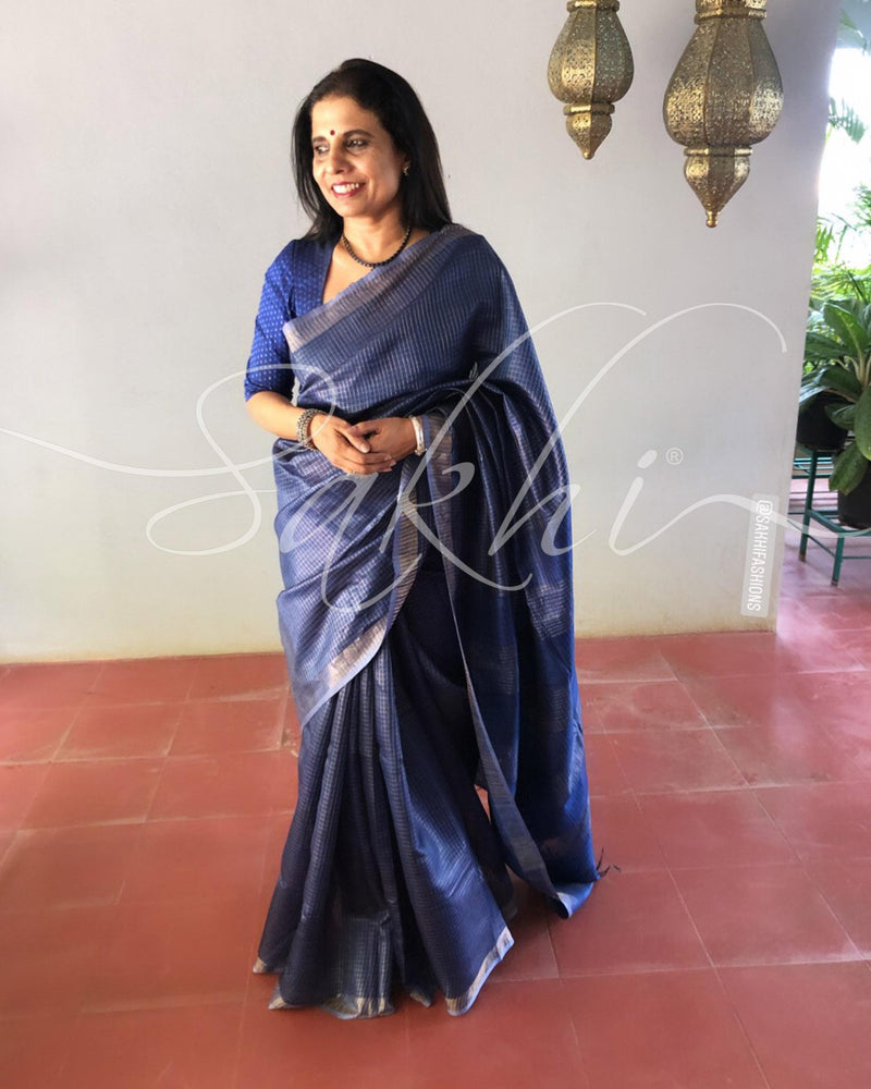 EE-S11472 - Blue &  Pure Tussar Saree