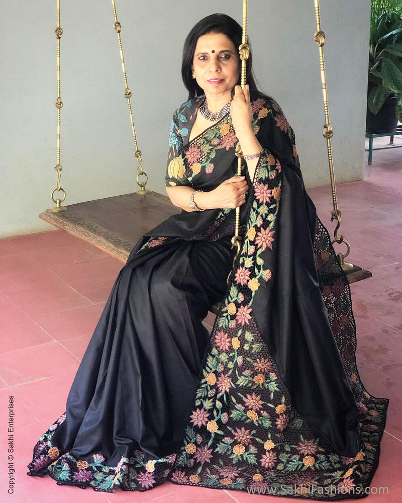 EE-S11493 - Black pure Kanchivaram silk saree
