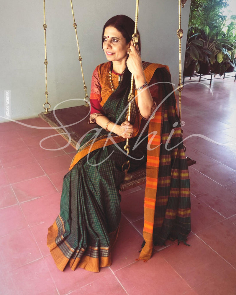 EE-S11499 - Green pure Cotton saree