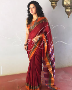 EE-S11500 - Maroon pure Cotton saree