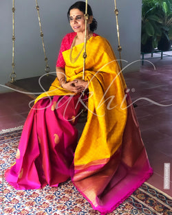 EE-S11583 - Mustard & Pink Pure Kanchivaram Silk Saree