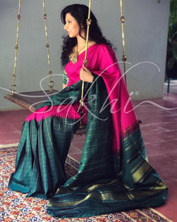 EE-S11593 - Green & Pink Pure Kanchivaram Silk Saree