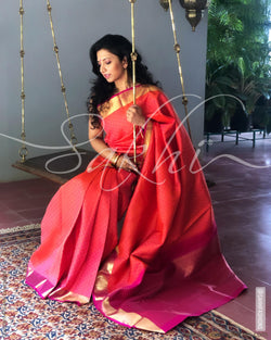EE-S11604 - Red &  Pure Kanchivaram Silk Saree