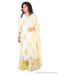 EE-S11913 - White & Yellow Pure Cotton Top & Dupatta