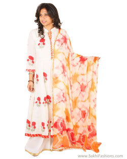 EE-S11920 - White & red pure Cotton Top & Dupatta