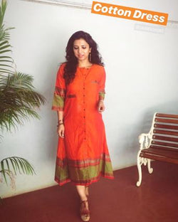 EE-S12104 - Orange &  Pure Cotton Dress