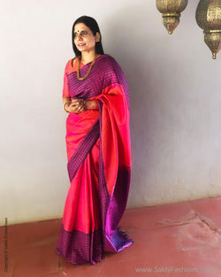 EE-S12250 - Pink & purple pure Kanchivaram silk saree