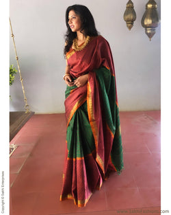 EE-S12251 - Green & Pink Pure Kanchivaram Silk Saree