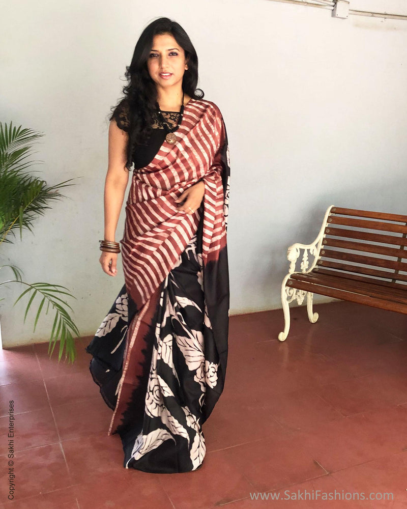 EE-S12476 - Brown & Black Pure Silk Saree