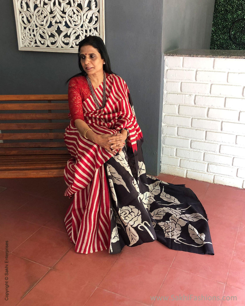 EE-S12477 - Red & black pure Silk saree