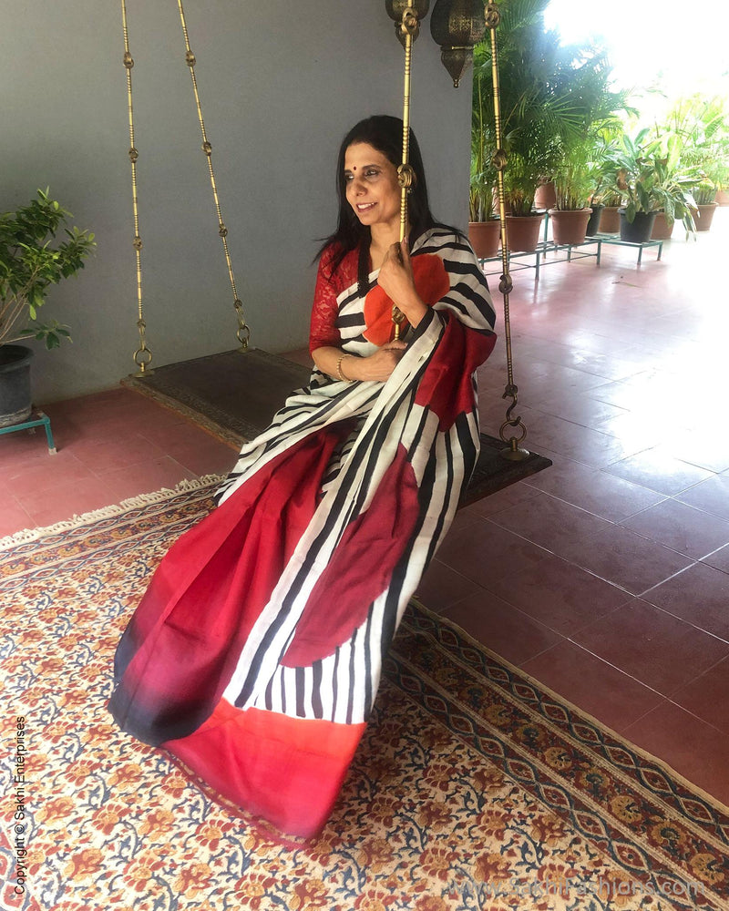 EE-S12479 - Black, white & red pure Silk saree
