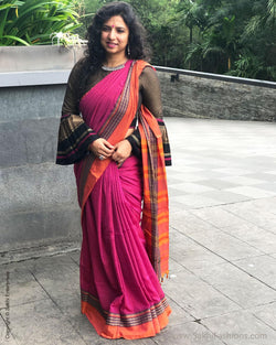 EE-S12545 - Pink pure Cotton saree