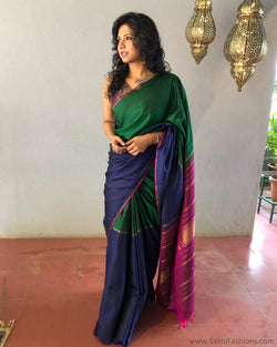 EE-S12712 - Green & blue pure Kanchivaram silk saree