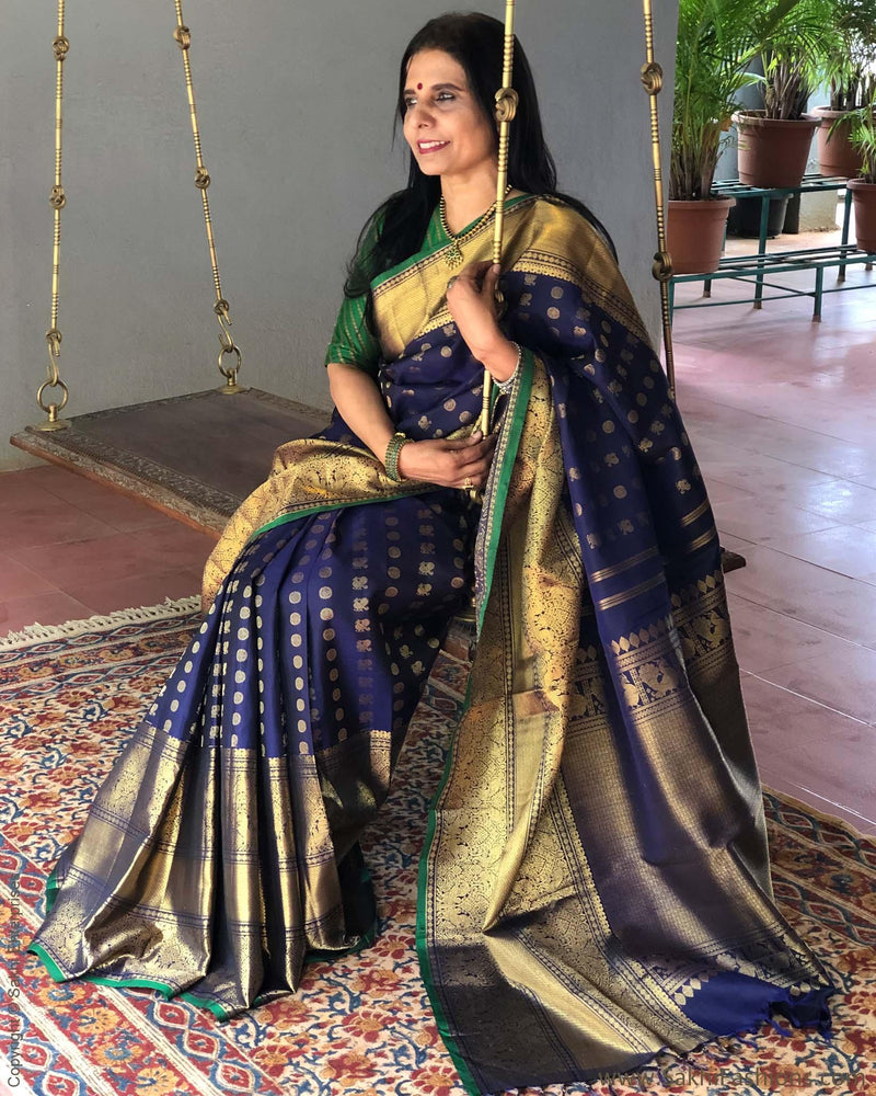 EE-S12713 - Blue & Gold Pure Kanchivaram Silk Saree